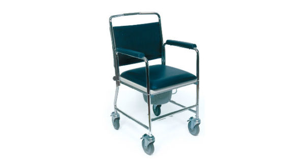 Chrome Plated Steel Mobile Commode Chair